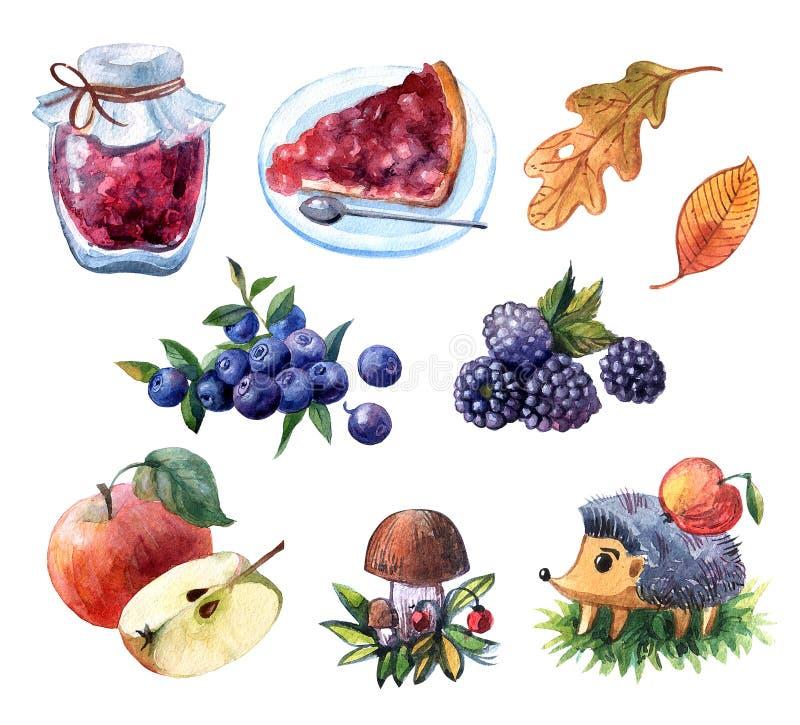 Hand getrokken waterverfreeks van illustratie met vruchten en berrie royalty-vrije illustratie