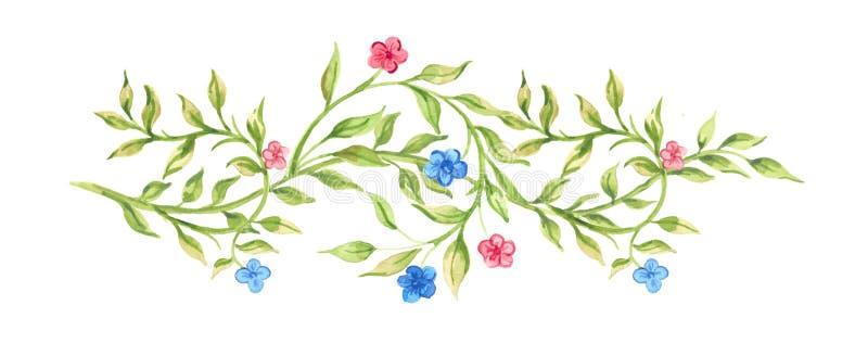 Hand getrokken waterverftakje met bloemen stock illustratie