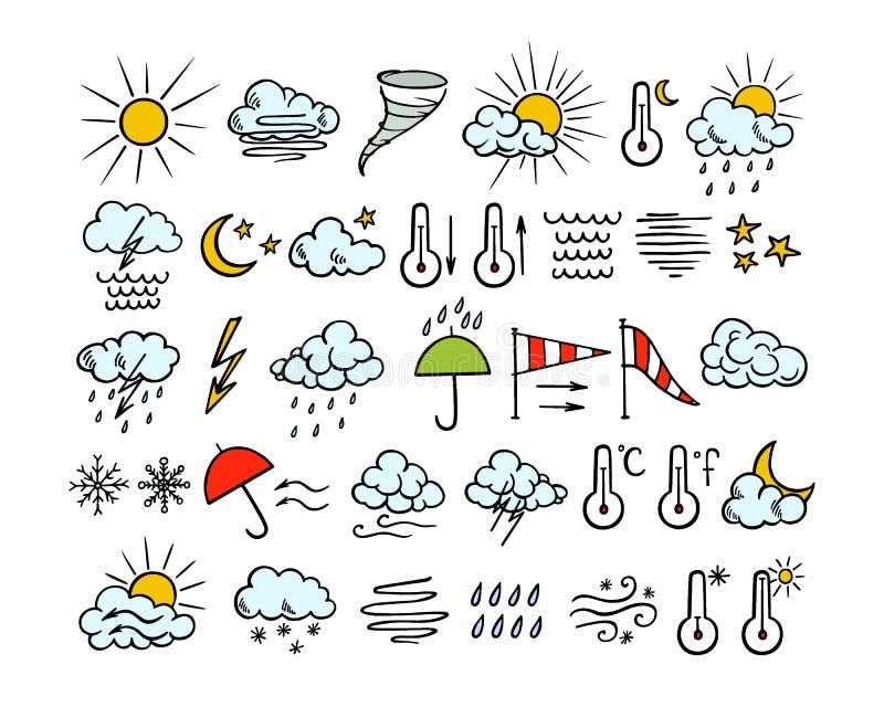 Hand getrokken weerpictogrammen vector illustratie