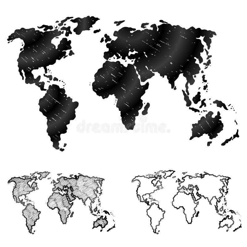 Hand getrokken wereldkaart in drie versies stock illustratie