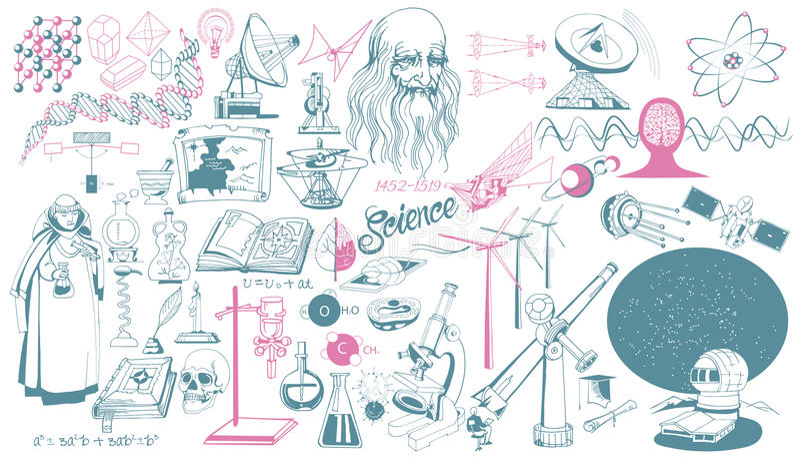 Hand Getrokken Wetenschappelijke Pictogrammeninzameling stock illustratie