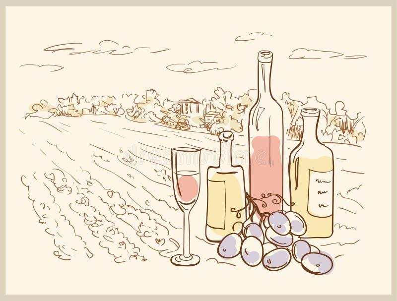 Hand getrokken wijngaard. royalty-vrije illustratie