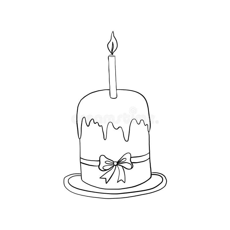 Hand getrokken wijnoogst van Gelukkig Pasen-symbool, Paschal cake met kaars op plaat, de vector geïsoleerde illustratie van de in vector illustratie