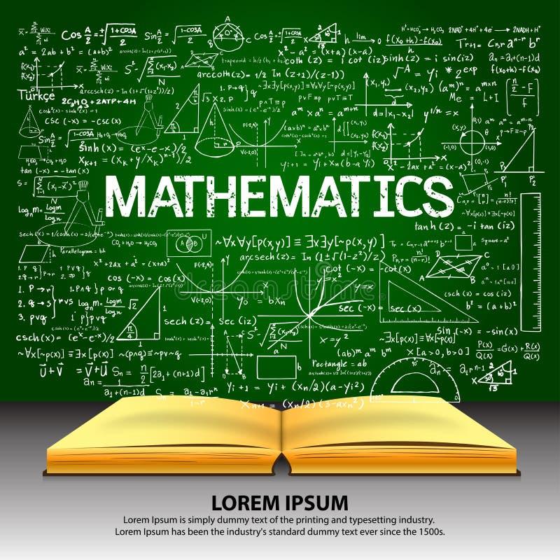Hand getrokken wiskunde op bord met geopend boek vector illustratie