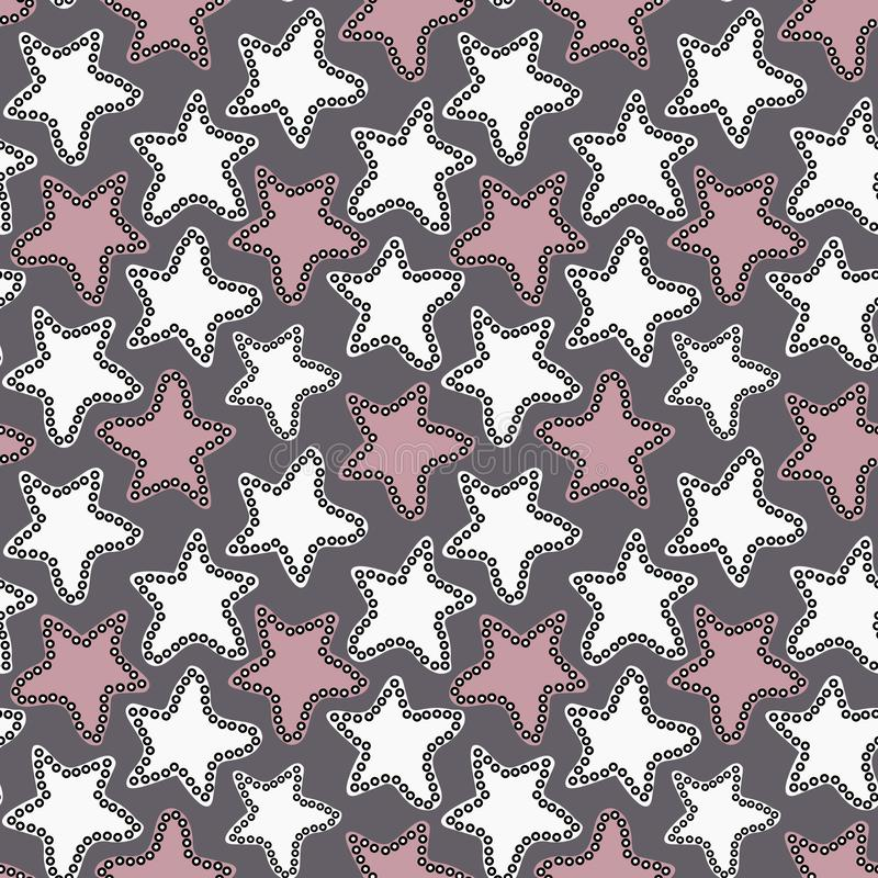 Hand getrokken witte en roze sterren op donkergrijze achtergrond vector illustratie