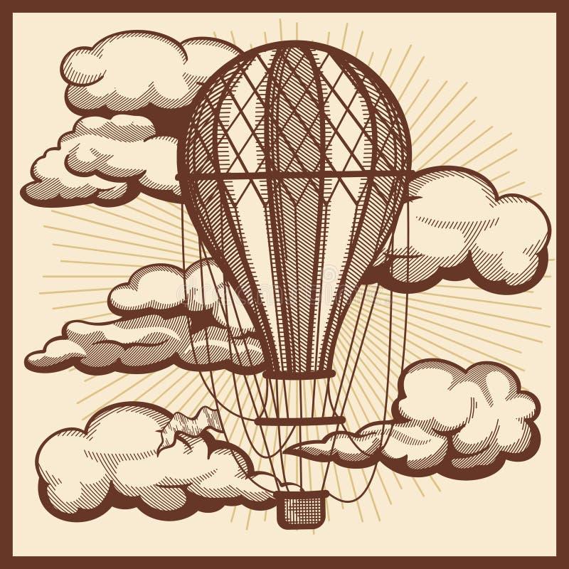 Hand getrokken wolken en de vector uitstekende schets van de luchtballon stock illustratie