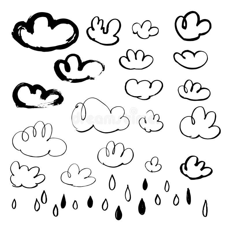 Hand getrokken wolken en regendalingen Stethoscoop over wit wordt geïsoleerd dat stock illustratie