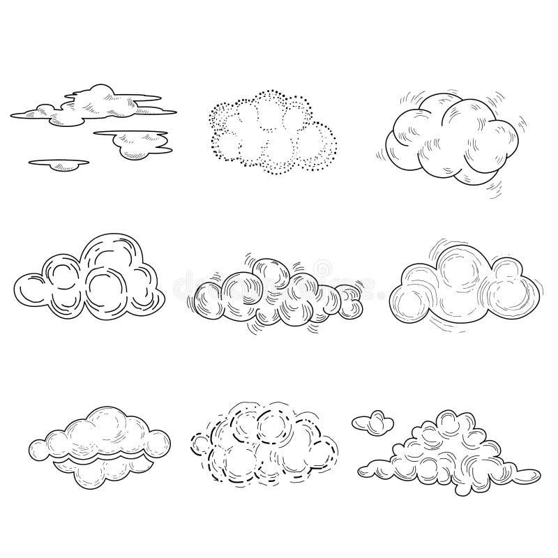 Hand getrokken wolkenreeks Vector illustratie vector illustratie