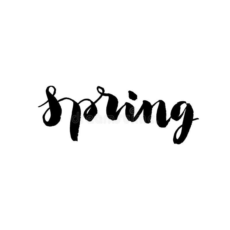 Hand getrokken woord - de lente, in vector vector illustratie