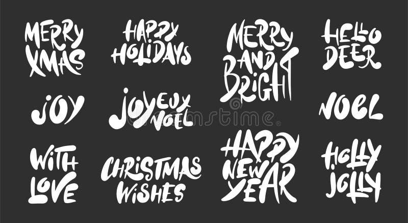 Hand getrokken woorden geplaatst Kerstmis en Nieuwjaarvakantie op donkere achtergrond De hand getrokken unieke elementen van het  stock illustratie