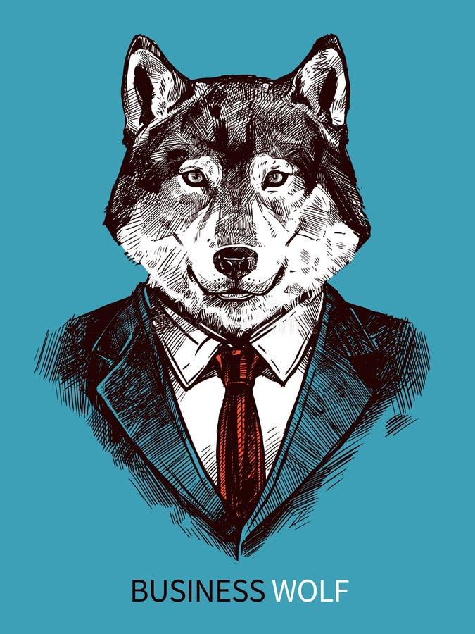 Hand Getrokken Zaken Wolf Poster stock illustratie