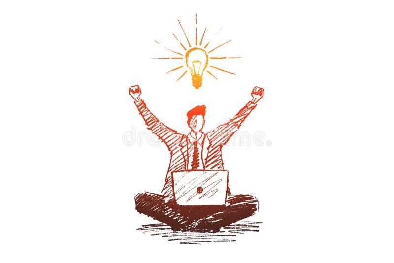 Hand getrokken zakenman geworden goed idee vector illustratie