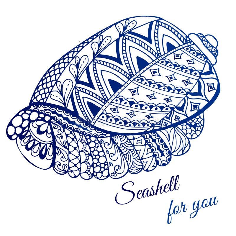 Hand getrokken zeeschelp met etnisch motief Kaart met plaats voor tekst stock illustratie