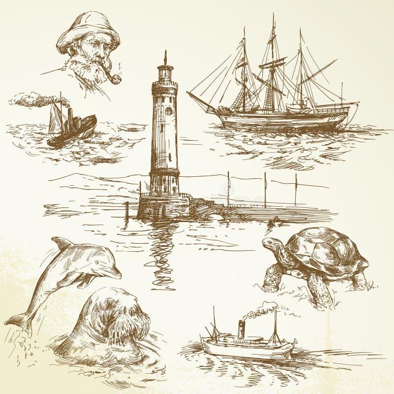 Hand getrokken zeevaartelementen royalty-vrije illustratie