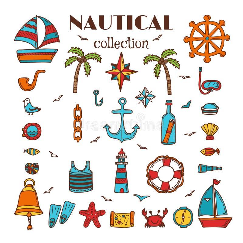 Hand getrokken zeevaartinzameling Overzees en oceaan Mariene pictogramreeks