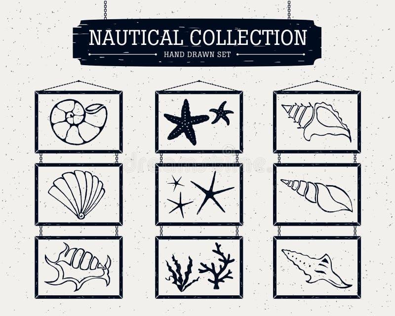 Hand getrokken zeevaartinzameling van zeevaartpictogrammen vector illustratie