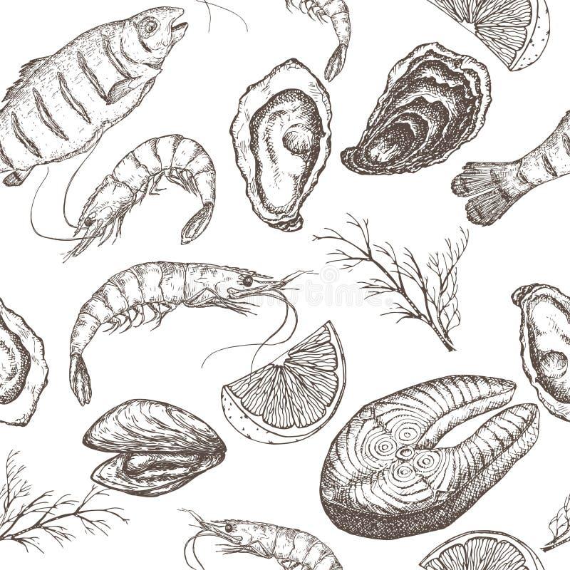 Hand getrokken zeevruchten vector naadloos patroon royalty-vrije illustratie