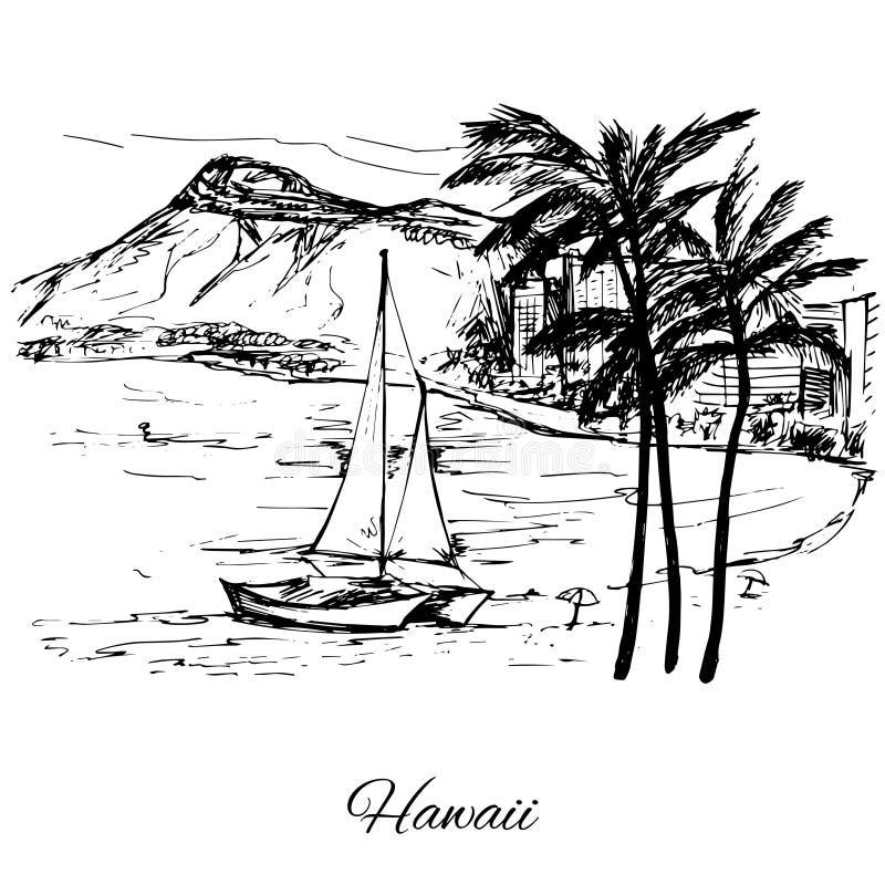 Hand getrokken zeil dichtbij het eiland Hawaï vector illustratie
