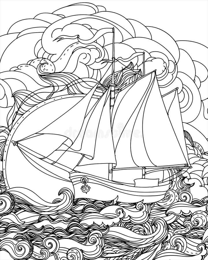 Hand getrokken zeilbootvector royalty-vrije illustratie