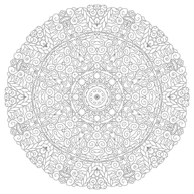 Hand getrokken zentangle cirkelornament voor het kleuren van pagina royalty-vrije illustratie