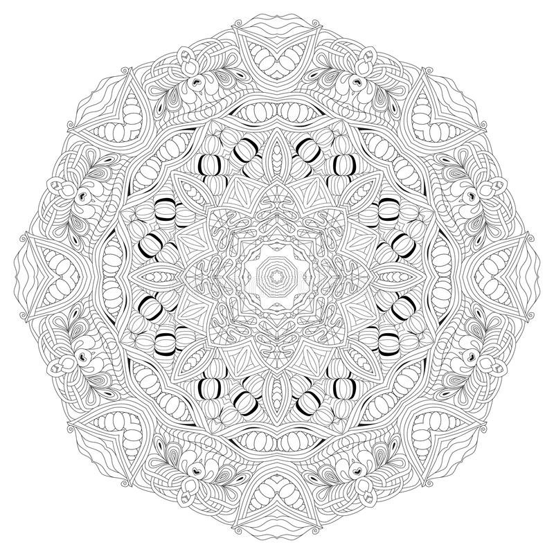 Hand getrokken zentangle mandala voor het kleuren van pagina vector illustratie