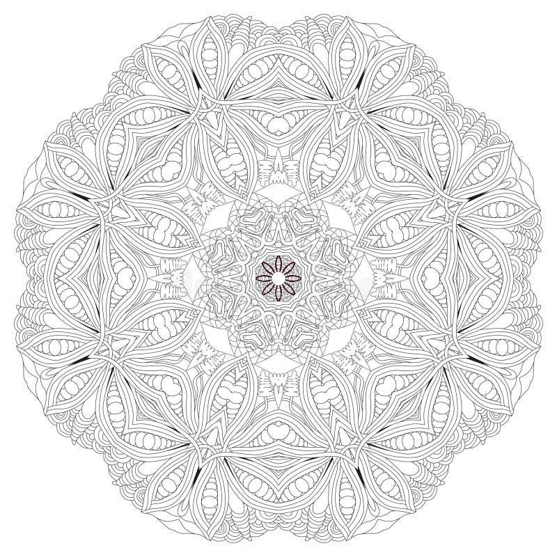 Hand getrokken zentangle mandala voor het kleuren van pagina royalty-vrije illustratie