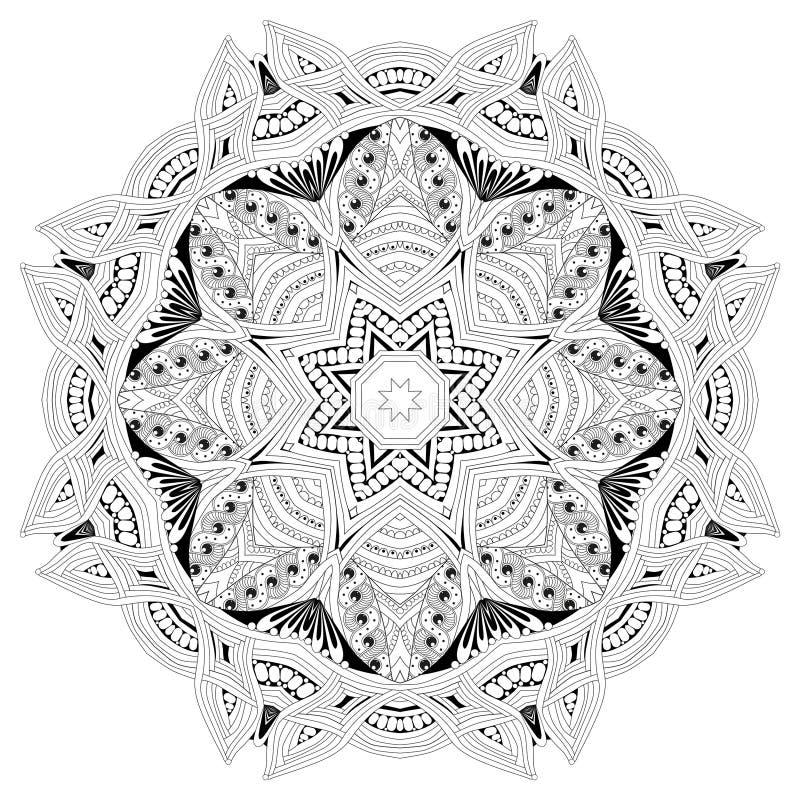 Hand getrokken zentangle mandala voor het kleuren van pagina stock illustratie