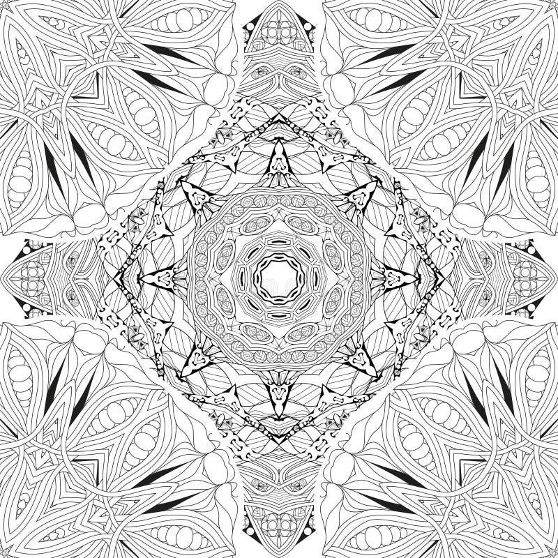 Hand getrokken zentangle seamleaapatroon voor het kleuren van pagina stock illustratie