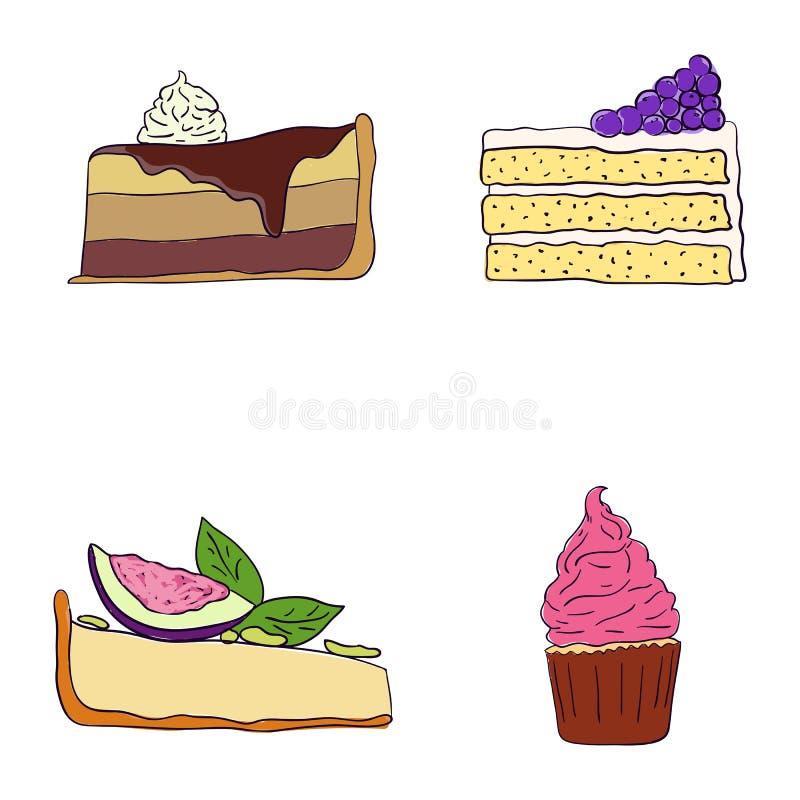 Hand getrokken zoete cakesplakken geplaatst vectorillustratie Vectorhand getrokken achtergrond Cakestukken, chocolade, cokie en s royalty-vrije illustratie