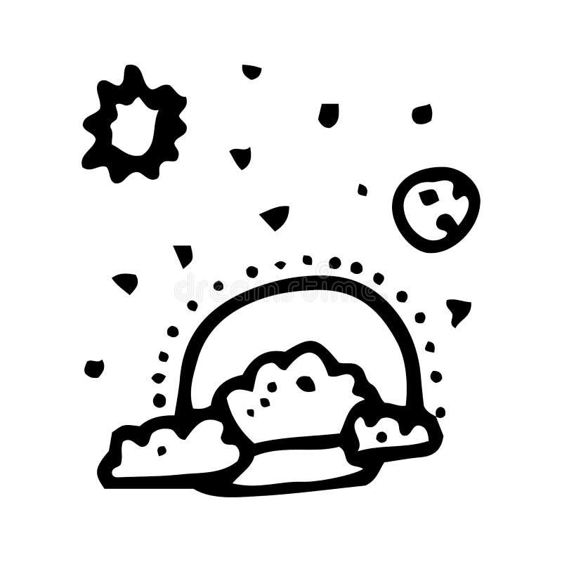Hand Getrokken zon, hemel, wolken en sterrenkrabbel Het pictogram van de schetsstijl Genomen in Genua, Itali? Ge?soleerdj op witt stock illustratie
