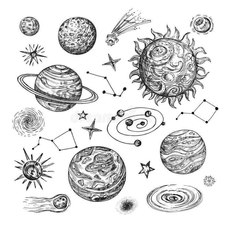 Hand getrokken zon, planeten, sterren, komeet, asteroïde, melkweg Uitstekende astronomische vectorillustratie in gravurestijl vector illustratie