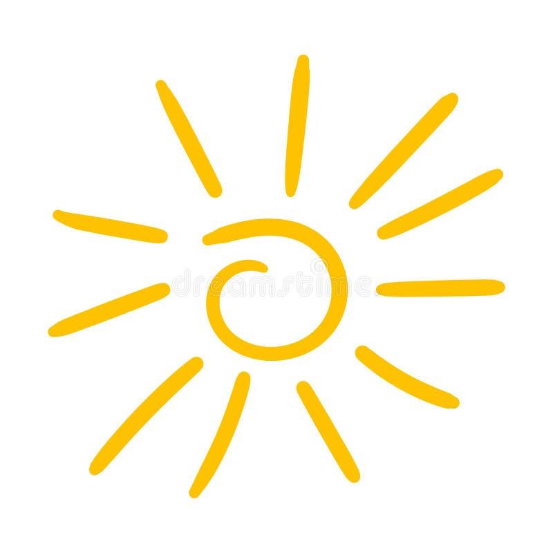 Hand getrokken zonpictogram Vectordieillustratie op witte backg wordt geïsoleerd royalty-vrije illustratie