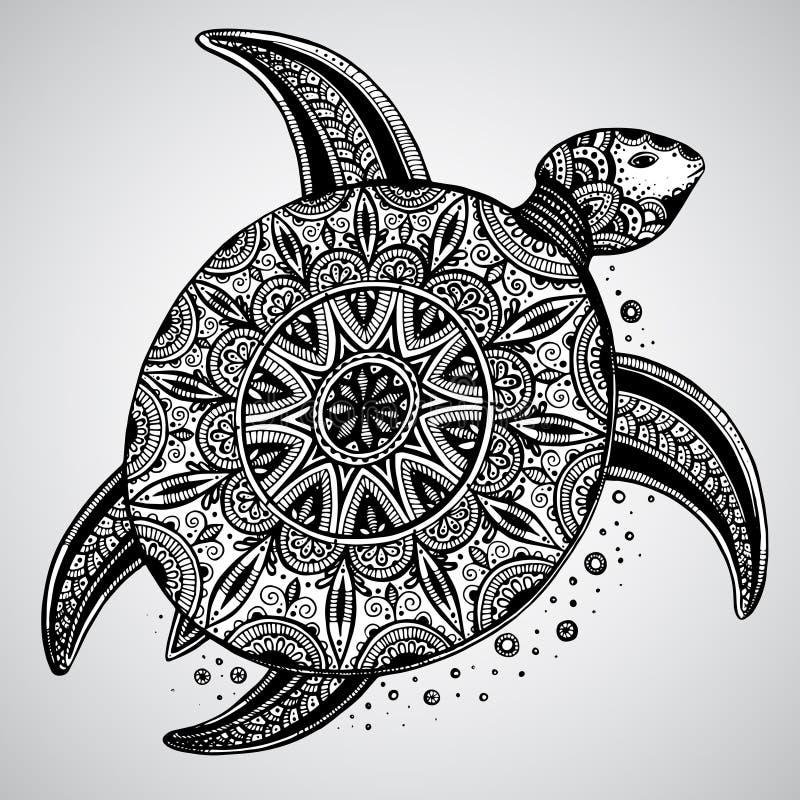 Hand getrokken zwart-wit die krabbelschildpad met oosten wordt verfraaid stock illustratie