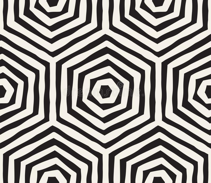 Hand getrokken zwart-wit inkt gestreept naadloos patroon De vectortextuur van het grungerooster De zwart-wit borstel strijkt lijn royalty-vrije illustratie