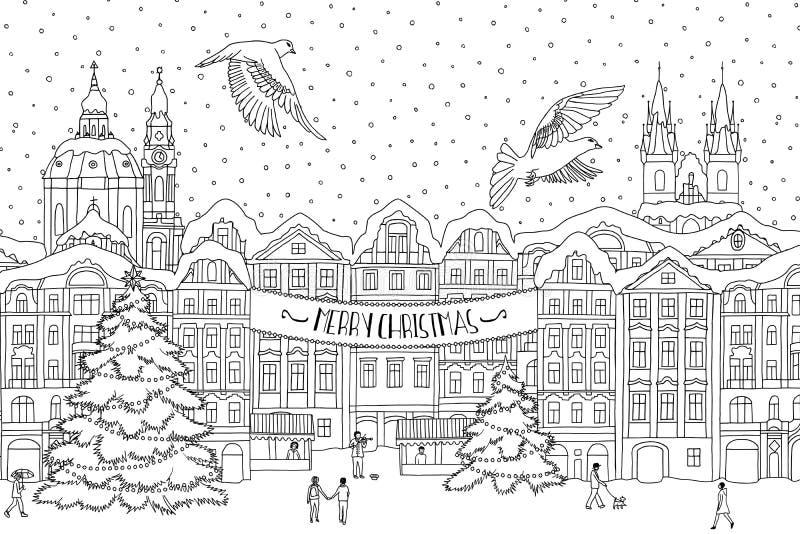 Hand getrokken zwart-witte illustratie van een stad in de winter in Kerstmistijd royalty-vrije illustratie