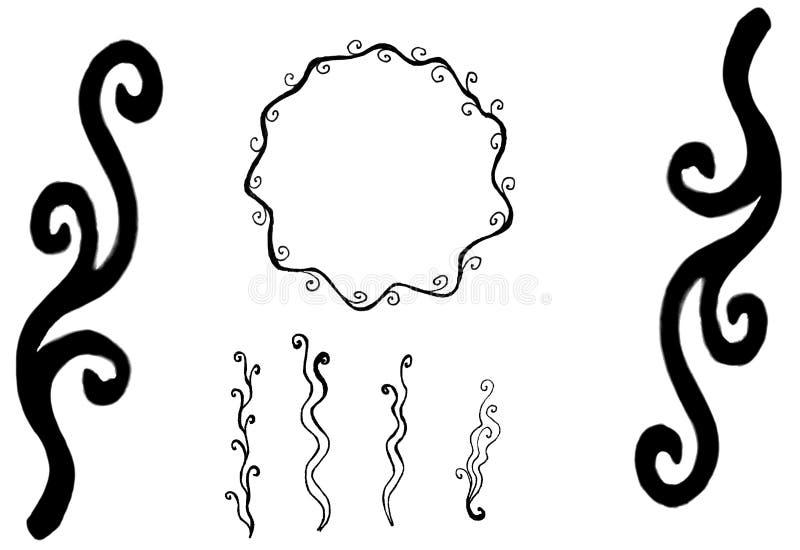 Hand getrokken zwarte curvy uitstekende mooie elementen vector illustratie