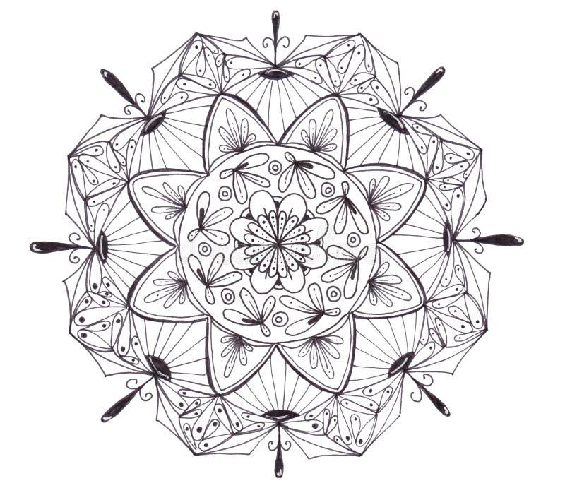 Hand getrokken zwarte mandala die op witte achtergrond wordt geïsoleerd royalty-vrije illustratie