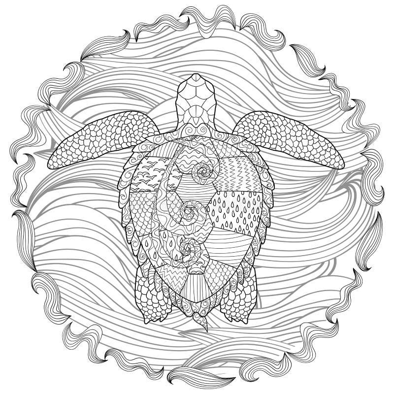 Hand getrokken zwemmende schildpad met hoge details stock illustratie