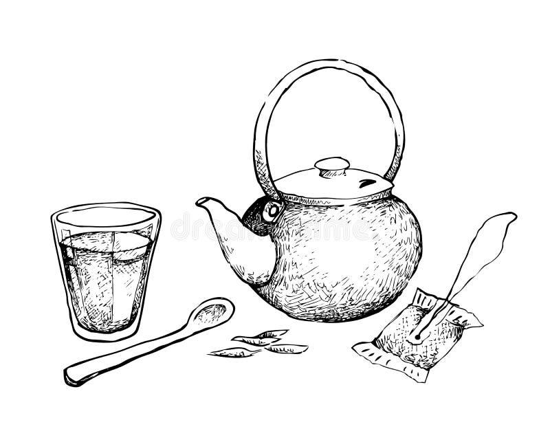 Hand gezeichnet vom Glas Tee mit Topf und Teebeutel stock abbildung