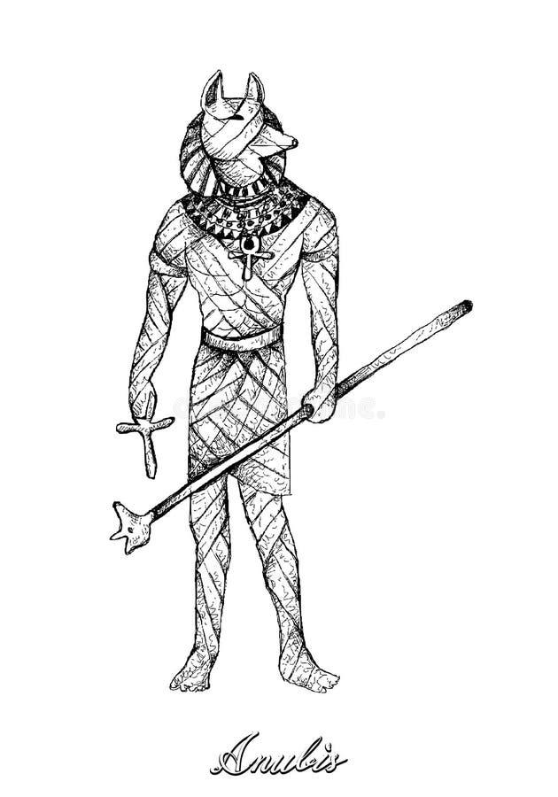 Hand gezeichnet von Anubis auf weißem Hintergrund lizenzfreie abbildung
