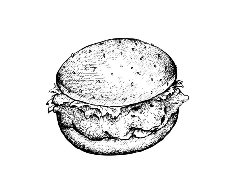 Hand gezeichnet von Fried Chicken Burger auf weißem Hintergrund lizenzfreie abbildung