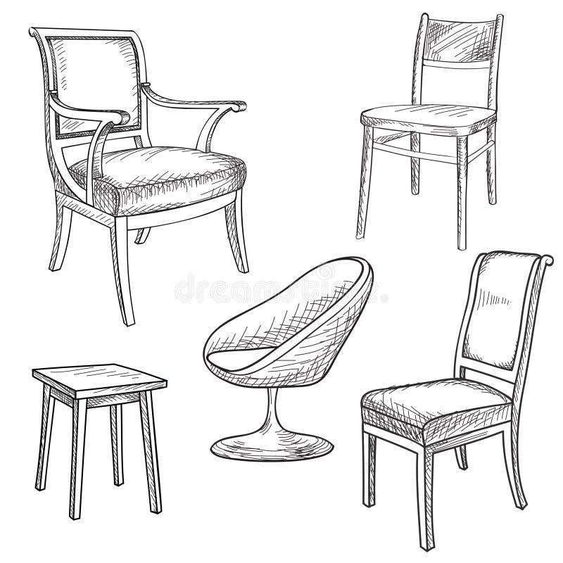 Stuhl gezeichnet  Hand Gezeichnete Abbildung Auf Weiß Innendetailentwurfssammlung ...