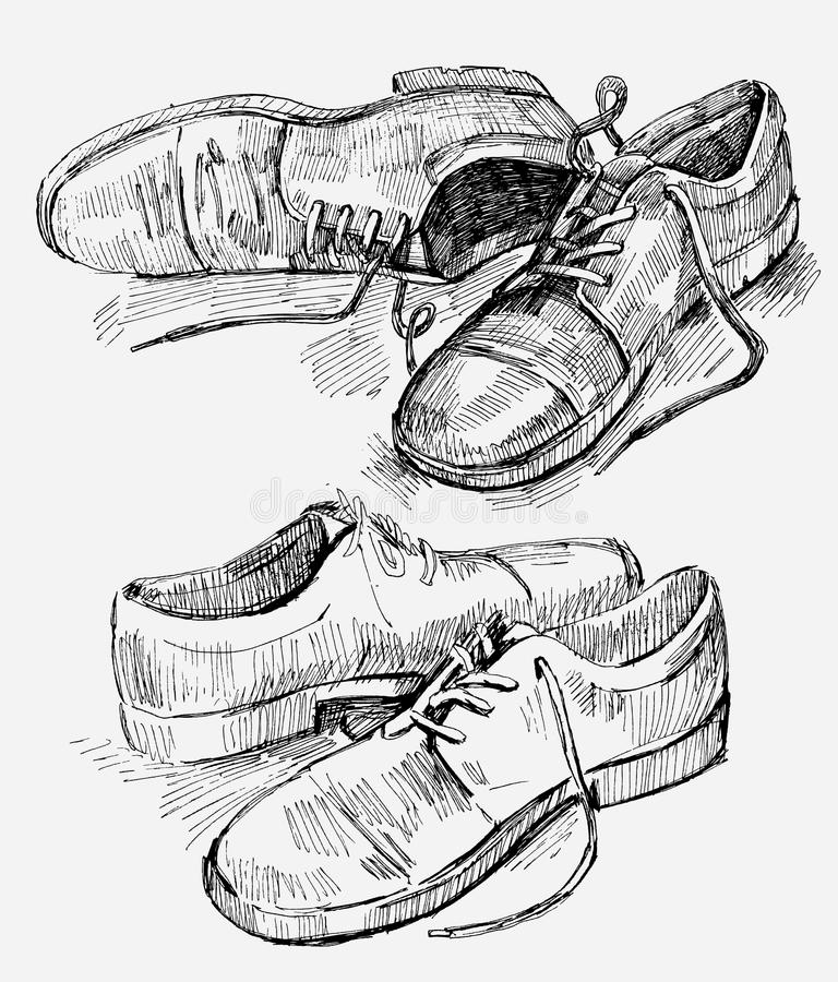Hand gezeichnete Abbildung der Schuhe stock abbildung