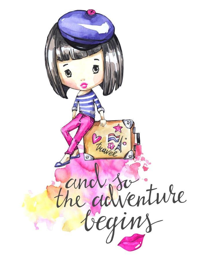 Hand gezeichnete Abbildung Junges Mädchen der Aquarellkarte mit Reisetasche Kalligraphiewörter Abenteuer, Ferien Kann sein lizenzfreie abbildung