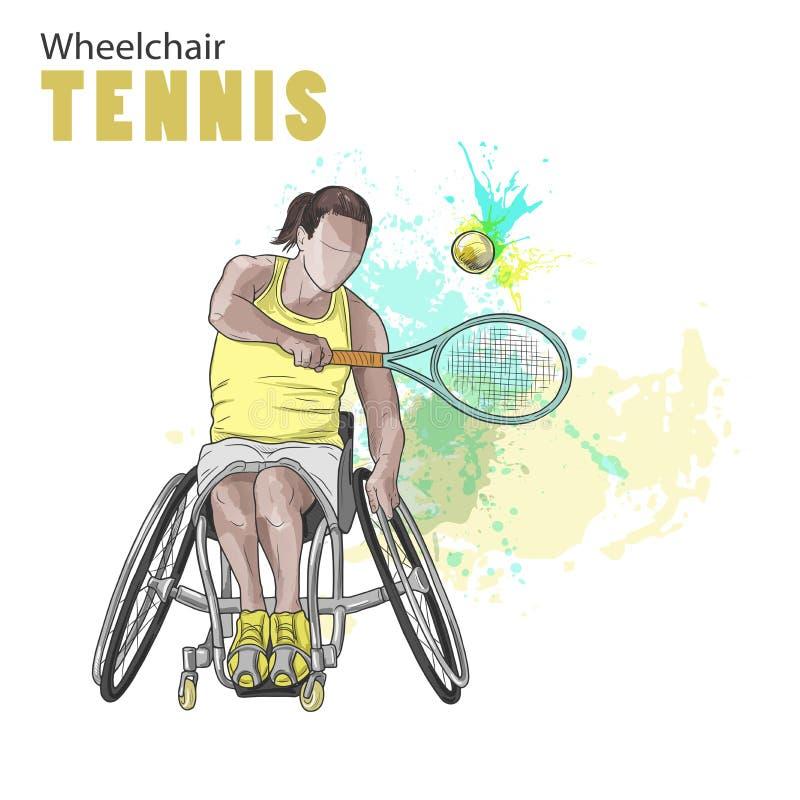 Hand gezeichnete Abbildung Rollstuhl-Tennisathlet Vektorskizzensport Grafische Zahl des behinderten Mädchens mit einem Schläger vektor abbildung