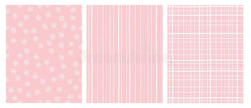 Hand gezeichnete abstrakte Vektor-Muster Weißes und rosa infantiles Design Streifen und Schnee-Flocken stock abbildung