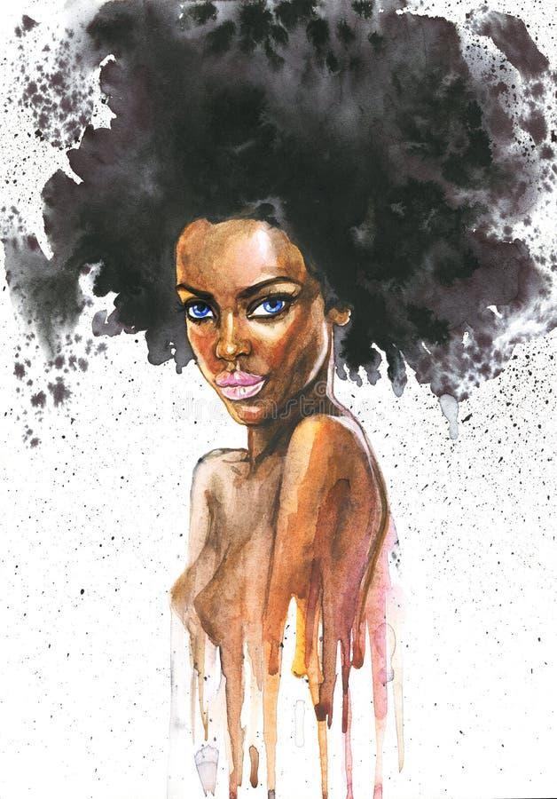 Hand gezeichnete afrikanische Frau der Schönheit mit spritzt Abstraktes Porträt des Aquarells des sexy Mädchens lizenzfreie stockbilder