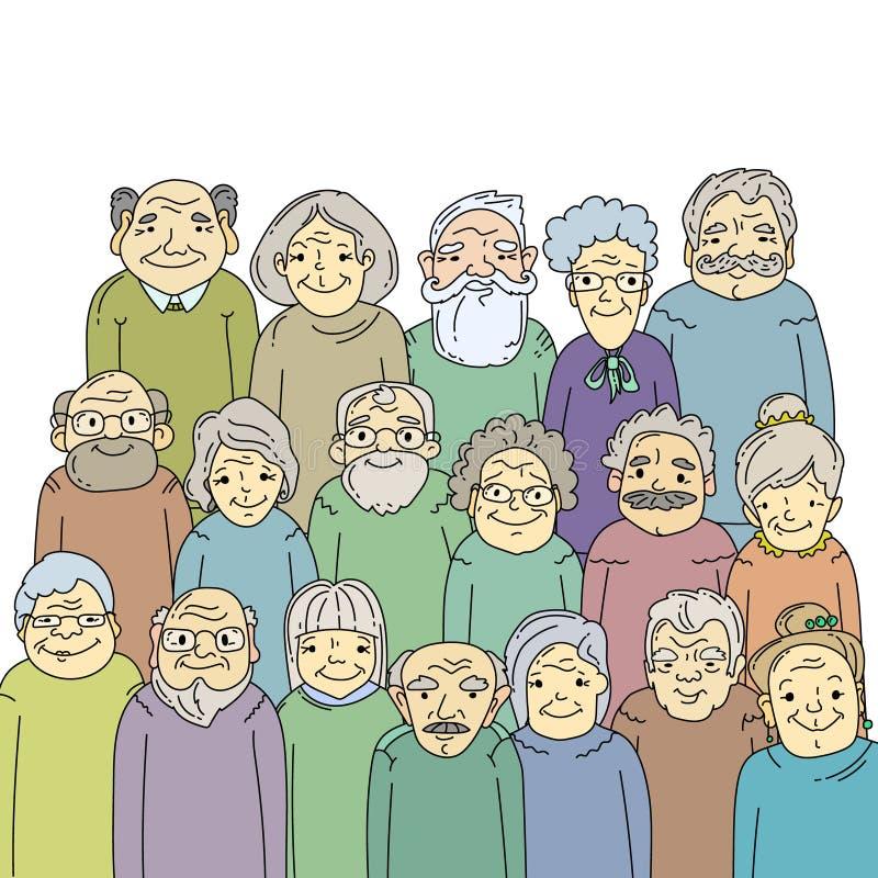 Hand gezeichnete alte Leute vektor abbildung