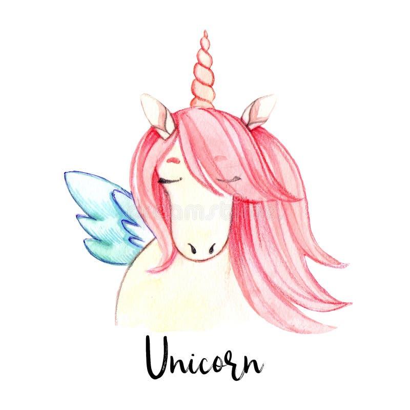 Hand gezeichnete Aquarellillustration Nettes Einhorn mit dem rosa Haar lizenzfreie abbildung