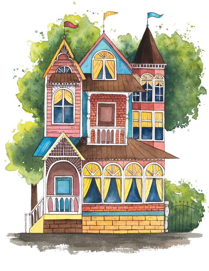 Hand gezeichnete Aquarellillustration Nettes victorian Haus lizenzfreie abbildung
